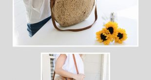 Round Woven Jute & Leather Bag