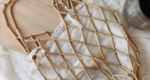 Bamboo Wood Beaded Bag / Bamboo Wooden Beads Bag / Boho Bag / Tote Bag / Beach B...