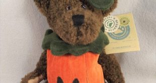 Punkie Boobear Boyds Bears Halloween Pumpkin Suit Brown Knubby Plush Fully Jointed Hand Stitched Nose Mouth Hang Tush Tags 9 inches Tall
