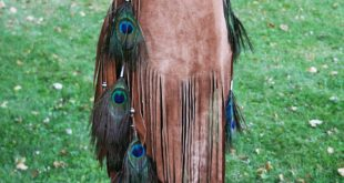 Ombre' Sheepskin Fringe Bag with Peacock feathers and Beads