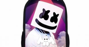Black Marshmello School Bag Set For Teen Boys Girls Cute Student Kids Schoolbag ...