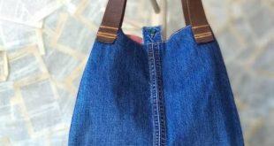 Large Recycled Upcycled Jeans Denim Tote Bag Gym Bag Diaper Bag Shopping Market Bag Beach Bag Smart Stylish Handbag Library Bag for Women