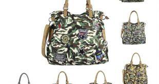 OBC DAMEN MILITARY TASCHE Shopper Camouflage Patches Handtasche Canvas Schultertasche Umhängetasche Army Damentasche Sticker Reisetasche Beuteltasche DIN-A4