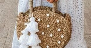 Petite Luna Straw Tote Bag - with White Agate Stones & Tassels