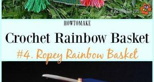 10 Crochet Rainbow Basket Free Patterns