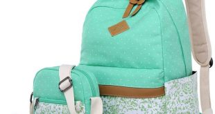 BLUBOON Teens Backpack Set Canvas Girls School Bags, Bookbags 3 in 1 (Polka Dot Floral-D-3pcs...