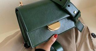Solid Color Vintage Leather Crossbody Bags For Women 2019 Simple Style Handbags and Purses Luxury Quality Fashion Handbags - Khaki 20cmx14cm x7cm