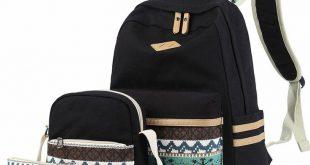 Lmeison Backapck for Girls Canvas Backpack Set Teens School Bag 3 in 1 Bookba  -...