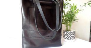 Real leather black tote bag, Leather bag, Black leather bag with exterior pocket, work office laptop casual everyday shoulder tote bag