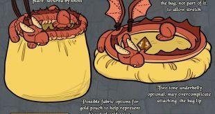 25 + › Mein D & D-Würfeltaschen-Design, ein schlafender Drache auf seiner Schatzkiste, ist …