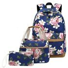 3Pcs Women Floral Backpack Travel Nylon Handbag Rucksack Shoulder School Bag New...