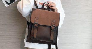 AUAU-Leather Ladies Backpack Teen Female Backpack Large Capacity Pu Travel Bag R...