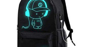 Anime Luminous Backpack, KUYOU Cool Unisex Canvas Backpack Shoulder Daypack Laptop Bag Star M...