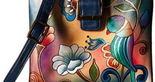Anna by Anuschka Genuine Leather Travel Organizer, Triple Compartment   Hand-Painted Original Artwork
