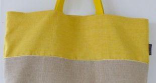 Beach bag / Beach bag / Tote bag / Yellow linen bag / Large linen and cotton bag...