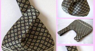 Black & Gold Silk Japanese Knot Bag / Wristlet, Upcycled Silk fabric, Limited Ed...