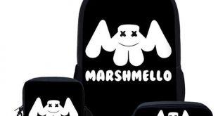 Black Marshmello School Bag Set For Teen Boys Girls Cute Student Kids Schoolbag Cool Primary Children Book Bag Gift