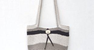 Brown large crochet boho bag, Summer knit set bag and purse, Tote market bag, Cotton beach tote bag, Beige shoulder bag, Shopping womens bag