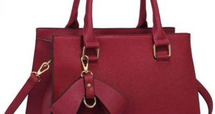 Burgundy Faux Leather Handbag With Bag Charm – LS00374C