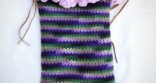 Christmas Gift Girl's Purse Crochet Bag Unique Handmade Fashion Asseccories Violet Green Stripes Pompoms Handmade Bag for tablet iPad