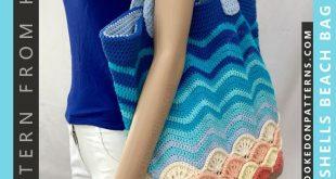 Dieses Häkelmuster für Strandtaschen ist für eine große Einkaufstasche mit e...