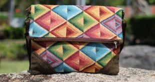 Foldover Clutch Purse Colorful Geometric Triangles - Crossbody Boho bag,summer Hobo bag purse,Boho C