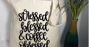 Funny canvas tote bag, stressed blessed and coffee obsessed tote bag, coffee gifts, coffee lover book tote bag