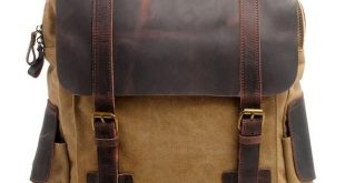 Handmade Ziplock Outdoor Large Rucksack Cowhide Leather Splicing Thick Canvas School Backpacks