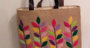 Jute tote bag, hand appliqued with colorful branches, handmade ,summer tote bag, shoppers, beach bag