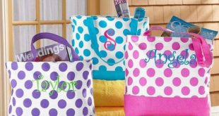 Large Tote Bag Polka Dot/ Large Beach Bag/ Monogram Tote Bag/ Shoulder Bag/ Bridesmaid Tote Bag/ Summer Bag/ Overnight Bag/ Weekender Bag