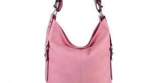 OBC DAMEN TASCHE SHOPPER Hobo-Bag Henkeltasche Schultertasche Umhängetasche Handtasche CrossOver CrossBag Damentasche Reisetasche Beuteltasche Pink