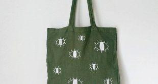 Olive TOTE BAG | hand painted, hand dyed | limited edition, grocery bag, reusable bag, shoulder bag, olive green, evil eye, minimalist bag