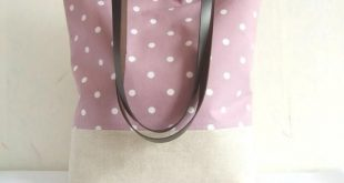 Polka dot tote bag in orchid purple and white cotton fabric and natural linen bo...