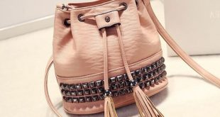 Rivet Tassels Drawstring Bucket Bag#bags