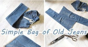 Simple Bag of Old Jeans. Sew Tutorial How to make denim bag from recycled old je...