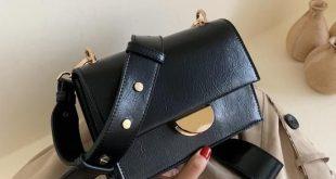 Solid Color Vintage Leather Crossbody Bags For Women 2019 Simple Style Handbags and Purses Luxury Quality Fashion Handbags - Black 20cmx14cm x7cm