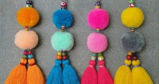 Tassels PomPom Wooden Beads Bag Charm - BOHO Chic - Purse Accessories - Tote Charm - Hand bag accessories