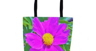 Tote Bag, Tote Bags for Women, Farmers Market Shopping Bag, Brilliant Ultra Violet Peony with Yellow Center, Custom Beach Bag, Fabric Bag